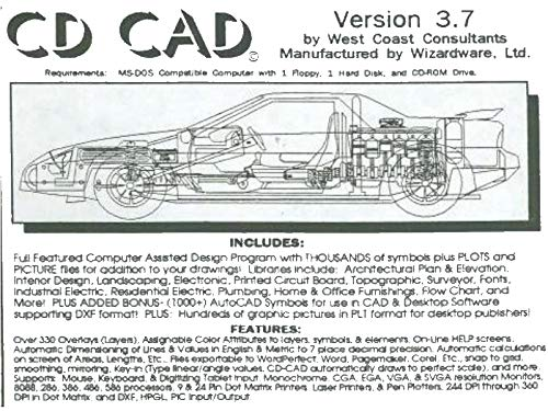 CD CAD Version 3.7 [Computer Aided Drafting] [2 Dimensional] [DOS]