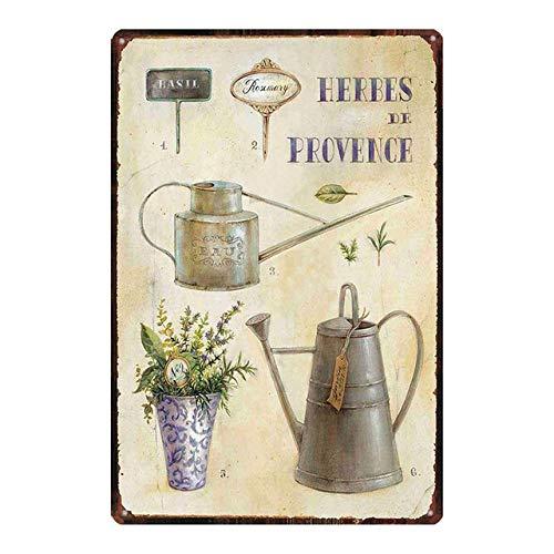 Vintage Metal Tin Sign Garden Beautiful Flowers Lavender Herbes De Provence Home Bar Kitchen Garden Wall Decor Sign 12X8Inch