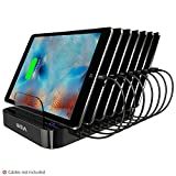 Skiva 84W 7-Port USB Charging Station with Wall/AC Input 2.4 Amps Smart Rapid Charging Ports for iPad, iPhone, Samsung Galaxy, LG, Smart Phones, Tablets (Cables Sold Separately) [StandCharger AC121]