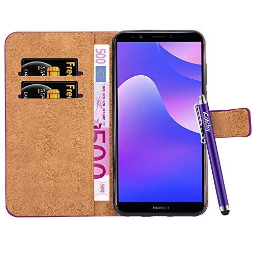 iCatchy Huawei Y7 2018 Case - Funda Tipo Cartera [Vista de Soporte] Funda de Cuero Premium Folio Case para Huawei Y7 2018 (púrpura)