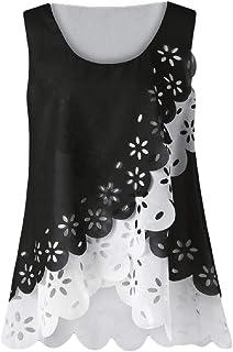Women Summer Sleeveless T Shirt Lace Hollow Out O Neck Blouse Tee Tank