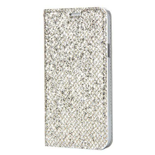 Homikon PU Leder Hülle Glänzend Glitzer Strass Schutzhülle Brieftasche Lederhülle Bookstyle Lanyard Handyhülle Standfunktion Kartensteckplatz Tasche Kompatibel mit Samsung Galaxy S5 - Silber