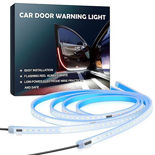Aokeou Autotür-LED-Warnleuchte, 2 PCS 48cm flexible zweifarbige Streifenleuchte, weiße und rote sequentielle Rückschaltung, Sicherheitsleuchte, Blitzlichter für Heckkollision