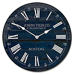Barnwood Navy Blue, Large Wall Clock, 8 Sizes, Great for Bedroom, Living Room, & Kitchen, Whisper Quiet, Handmade in The USA