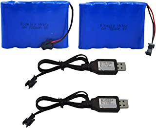 Blomiky 2 Pack 6.0V 700mAh Ni-CD AA Rechargeable Battery Pack and 2 USB Charger Cable Fit for 11 Channel RC Excavator RC Truck Amphibious Stunt RC Cars Vehicles 6V 700mAH and USB 2