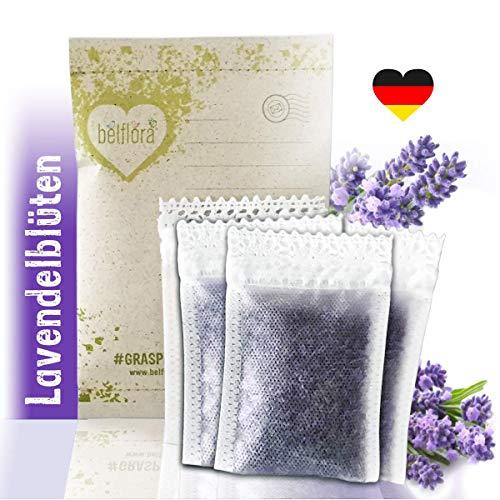 BELFLORA Lavendel Duftsäckchen 6 x Lavendelsäckchen - Frischer Duft und antibakteriell - Naturprodukt - Verpackung aus Graspapier - Lavendel Duftkissen mit gereinigten Lavendelblüten