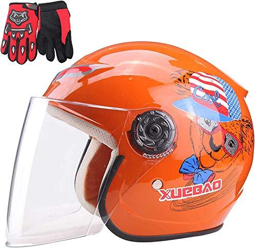 QDY Casco de Motocicleta para niños, Casco de Motocicleta para niños, Guante...