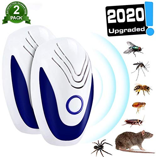 2 PACK Ultraschall Schädlingsbekämpfer, 100% Sicher für Menschen, Mäuse Vertreiben Pest Repeller, Insektenschutzmittel Gegen, Mäuse, Schaben, Insekten, Ameisen, Flöhe, Fliegen