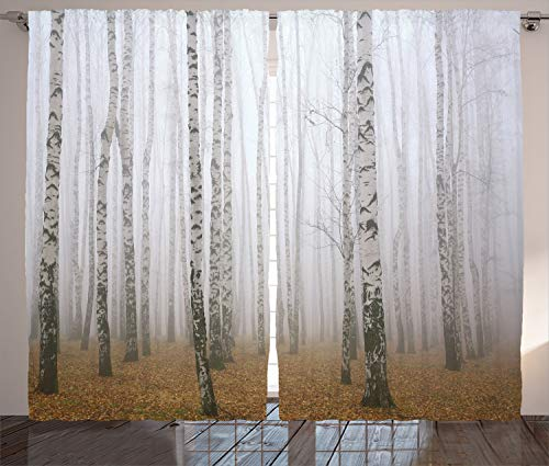 """Ambesonne Forest Curtains, Morning Mist in Autumn Birch Grove Flora Calm Serene Simple Nature Picture, Living Room Bedroom Window Drapes 2 Panel Set, 108"""" X 84"""", Brown Grey Ivory"""