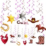 Western Cowgirl Party Decorations Cowgirl Themed Hanging Swirl Cowgirl Sign Horse Horseshoe Boot Scarf Cowgirl Hat Star for Western Party Birthday Party (48)