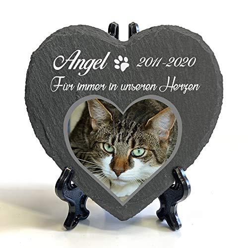 Individueller Personalisiert Herzform Tiergrabstein Schiefer Gedenkstein + Ständer für Hund, Katze und andere Haustiere Tiere - Größe | 10 x 10 cm | - Foto und Name