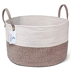 Luxury Little Nursery Storage Basket, Size XXXL :: 100% Cotton Rope Hamper with Handles :: Sturdy Baby Bin Organizer for Laundry, Toys, Blankets, Pillows & More, 22″ x 22″ x 14″, White/Beige