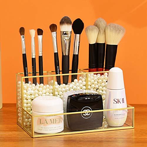 SLHEQING Glas Kosmetik Organizer Golden Vintage Makeup Organizer, Kosmetik Aufbewahrungsbox für Lippenstifte, Nagellack, Kosmetikpinsel (Gold + Transparent B)