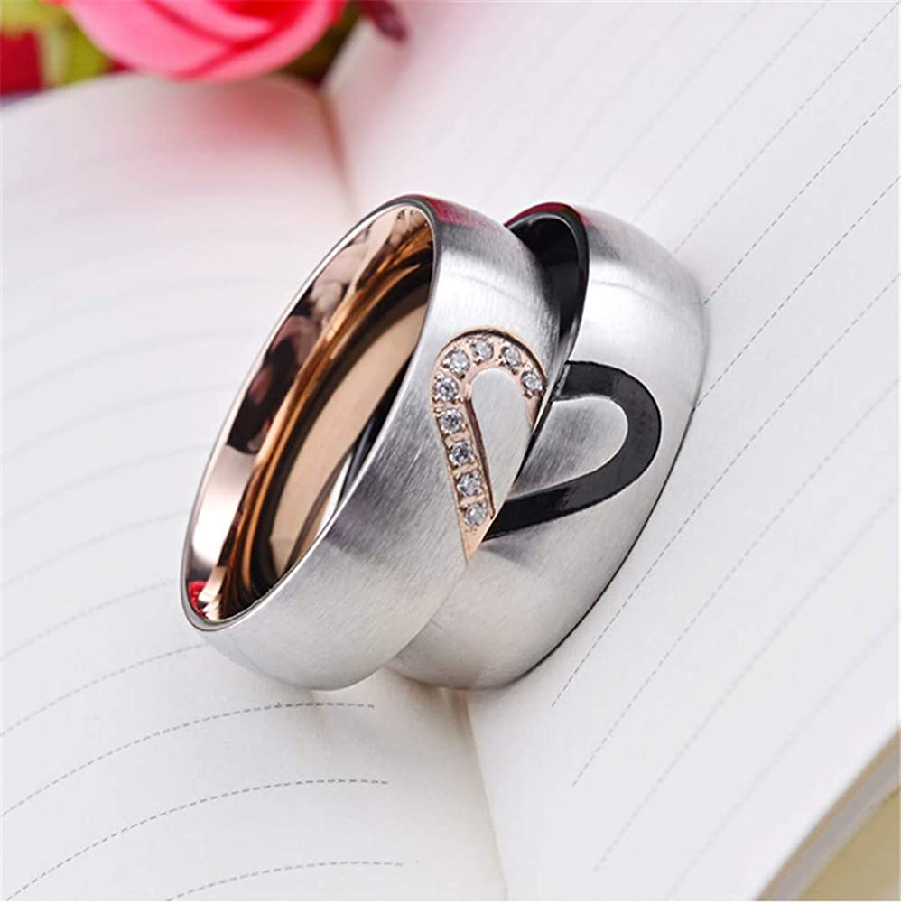 PAMTIER Mens Womens Stainless Steel 6mm Brushed Heart Diamond Inlay Couple Promise Wedding Band Set