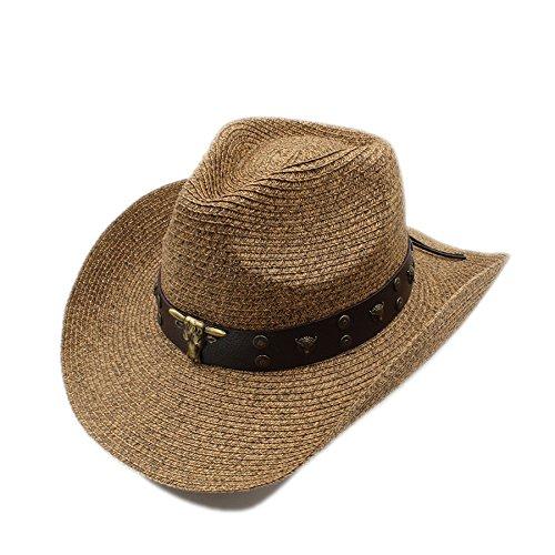 XXY Sombrero de vaquero de paja para hombre Caballero vaquera Jazz Cap Dad Queen Hat (Color : Marrón, tamaño : 58cm)