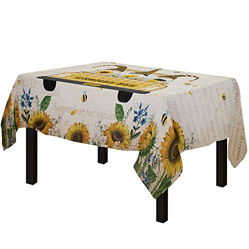 Yun Nist Tablecloths for Rectangle Table Sunflower Truck with Gnomes Honey Bees, Cotton Linen Fabric Table Cover Tabletop Cloth for Dining Room Kitchen, Old Newspapers
