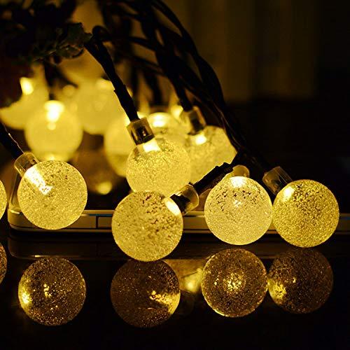 Amazon Blast - Cadena de luces solares LED con perlas de burbujas, cadena de luz UL para decoración de día de Navidad al aire libre