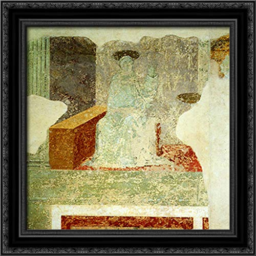 Scenes of Monastic Life 20x20 Black Ornate Wood Framed Canvas Art by Paolo Uccello