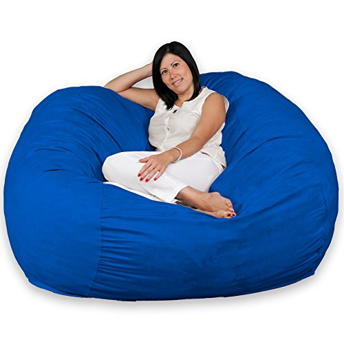FUGU Large Bean Bag Chair, Premium Foam Filled 5 XL, Protective Liner Plus Removable Machine Wash Royal Blue Cover