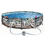 "Bestway 56817E 12' x 30"" Steel Pro Max Round Above Ground Swimming Pool Kit with Filter Pump and Filter, Stone Print"