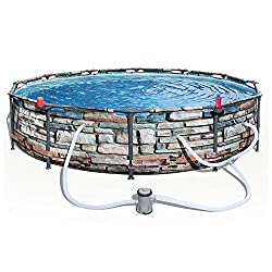 """Bestway 56817E 12\ x 30"""" Steel Pro Max Round Above Ground Swimming Pool Kit with Filter Pump and Filter, Stone Print"""