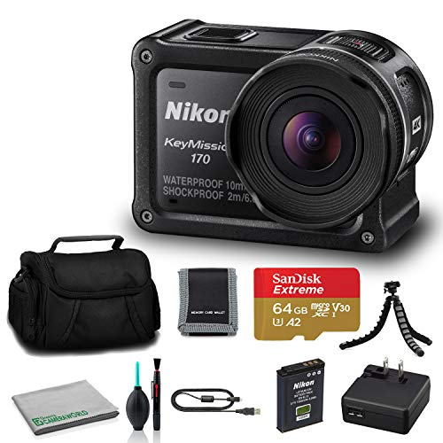 Nikon KeyMission 170 4K Action Camera (26514) USA Model + 64GB microSDHC Memory Card + Memory Card Wallet + Deluxe Soft Bag + 12 Inch Flexible Tripod + Deluxe Cleaning Set + USB Card Reader