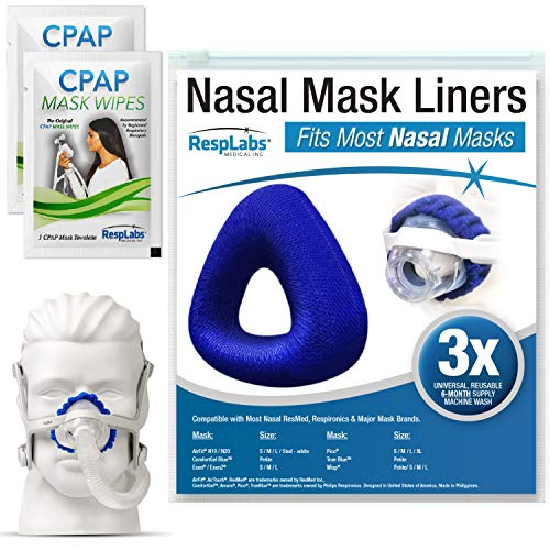 RespLabs Nasal CPAP Mask Liners, Reusable & Universal Soft Fleece Cover, 3 Pack