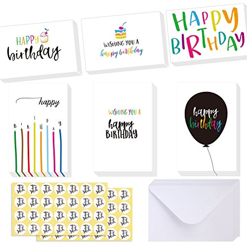 Ohuhu Happy Birthday Gift Cards, 48 Assorted Folded Kids Birthday Greeting Blank Note Cards W/ 48 White Envelopes and 48...