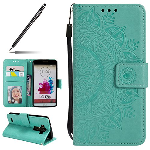 Uposao Kompatibel mit LG G3 Handy Schutzhülle Vintage Lederhülle Ledertasche Dünn Leder Handy Tasche Klapphülle Flip Cover mit Standfunktion Karteneinschub,Grün