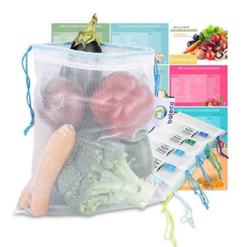 baleco Obst und Gemüsebeutel | 6er Set mit 5 cleveren Größen | besonders nachhaltig durch recyceltes Material | wiederverwendbar, waschbar & Feder-leicht | gr. Etikettenfeld & Tara-Angabe