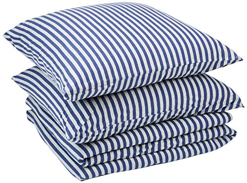 AmazonBasics - Bettwäsche-Set, Jersey, gestreift, 155 x 220 cm / 80 x 80 cm, Marineblau