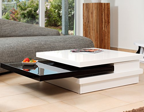 SalesFever Couch-Tisch weiß/schwarz Hochglanz aus MDF 120x80cm recht-eckig   Goci   Moderner Wohnzimmer-Tisch Weiss/schwarz mit drehbarer Platte   Geöffnet 160cm x 80cm