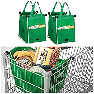Customer reviews Set of 2 For Shopping Trolley Cart Clip On Eco Bags Reusable Tote UK.:Superclub