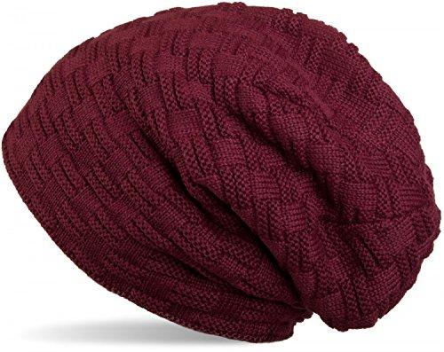 styleBREAKER warme Feinstrick Beanie Mütze mit Flecht Muster und sehr weichem Fleece Innenfutter, Unisex 04024058, Farbe:Bordeaux-Violett
