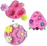 Moldes de Pastel de Silicona Fondant 3D Molde de Flores Decoración de Tartas Herramientas para Hacer Bricolaje Dulces Chocolate Jabón Moldes 3 piezas