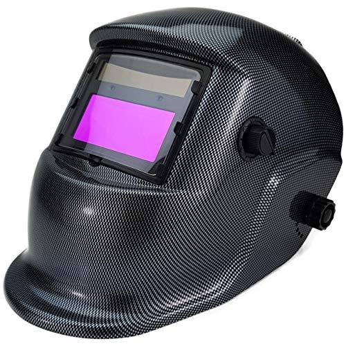 Automatik Schweißhelm HurthAG ADF-1625 True Color Sichtfeld inkl 3 Spare Gläser Solar Schweisshelm Schweissmaske Schweißschild Automatikhelm Carbon-Look