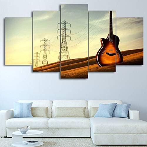 colores increíbles BAIF 5 Unidades Lienzo de de de Pintura HD Lienzo D Wall Art Modular 5 Panel de Guitarra Música Paisaje Marco del Cartel Moderno Decoración del Hogar Sala de Estar Fotos Pintura  marca de lujo