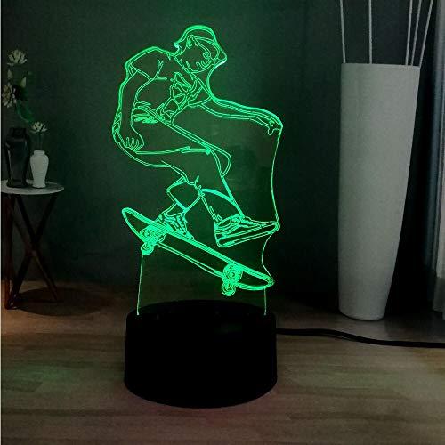 LWJZQT 3d nachtlicht 3D Roman Sport Roller Junge 7 Farbwechsel Led Dekoration Atmosphäre Stehtisch Lampe Schlafzimmer Nachtlicht Kinder Geschenk Spielzeug