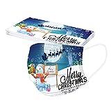 tohole Adulto 50 Piezas 𝐌𝐚𝐬𝐜𝐚𝐫𝐢𝐥𝐥𝐚𝐬 Navidad,copo de nieve Patrón 3 Capas Protectoras Dibujos Antipolvo Protección Desechable para Impresión linda con Elástico No Tejida Transpirables