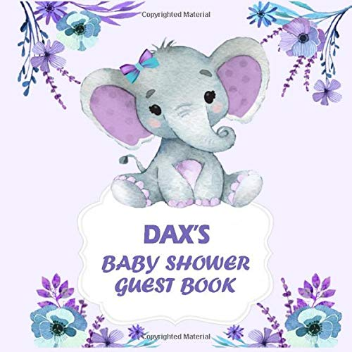 Dax's baby shower guest book : Personalized Name Baby shower Guest Book boy elephant for Dax | Baby Shower Guestbook + BONUS Gift Tracker Log included