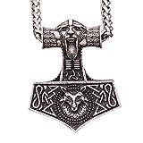 YANGFJcor Nordic Viking Odin Retrato Lobo Cabeza Logo Colgante Collar, Martillo de Thor del Lobo, señoras para Hombre Runa Celta talismán Nudo sajón,Plata