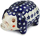 Polish Pottery 6-inch Piggy Bank (Flowering Peacock Theme) + Certificate of Authenticity