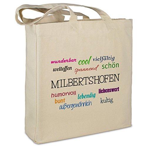 Stofftasche mit Stadt/Ort Milbertshofen - Motiv Positive Eigenschaften - Farbe beige - Stoffbeutel, Jutebeutel, Einkaufstasche, Beutel