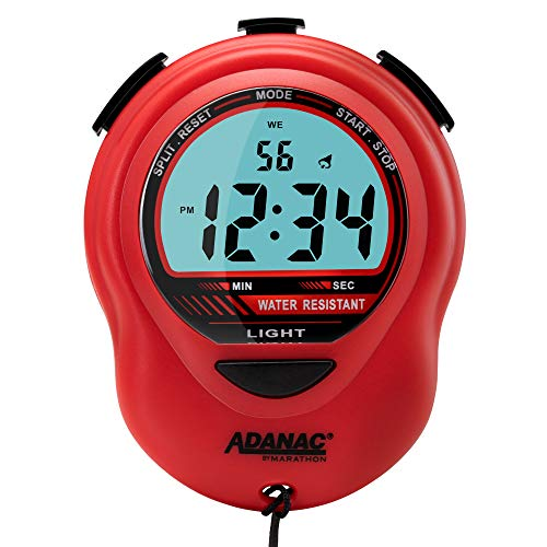 MARATHON ST083013RD Adanac Digital Glow Stopwatch Timer with Extra Large Display and Digits  Battery Included Red