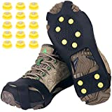 Tevlaphee Crampones,Racos de Hielo Tracción Antideslizante Más de Zapatos/para 15 Tacos Nieve Hielo Grips Crampones Tacos Picos,fácil de Poner (Schwarz, M)