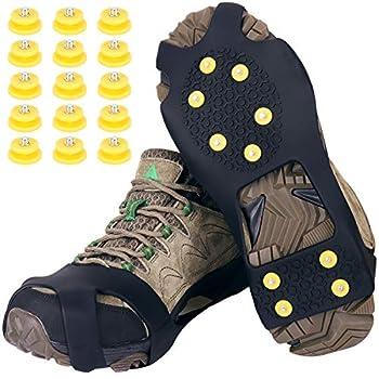 Tevlaphee Crampons? Antidérapant sur Chaussures/Bottes 10 Clous à Neige Grips Crampons Crampons Pointes avec 15 Pics de Neige de Rechange- Protection antiglisse- Unisexe (Schwarz, L)