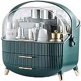 LXM Organizador de maquillaje con cajón a prueba de polvo, organizador de belleza, utensilios de maquillaje para baño, elegante con asas cromadas, grande (color: verde)
