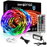 DAYBETTER Led Strip Lights 32.8ft 5050 RGB LEDs Color Changing Lights Strip for Bedroom, Desk, Home Decoration, with Remote and 12V Power Supply