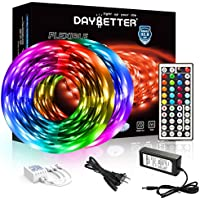 Daybetter 32.8ft 5050 RGB LEDs Color Changing Lights Strip with Remote and 12V Power Supply