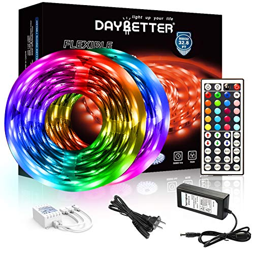 DAYBETTER Led Strip Lights 32.8ft 5050 RGB LEDs Color Changing Lights Strip for Bedroom, Desk, Home...